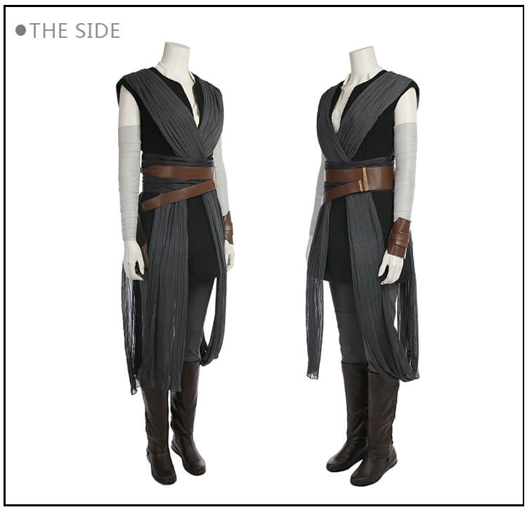 Movie Star Wars The Last Jedi Grey Rey Costume Women...