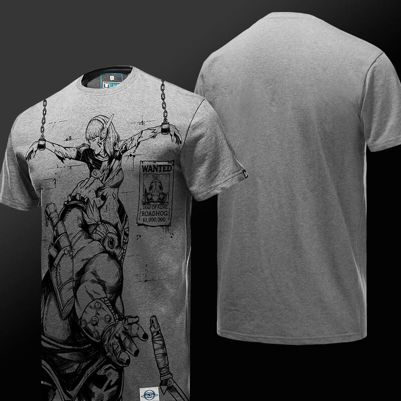 Overwatch Roadhog vs D.VA Grey T-shirt
