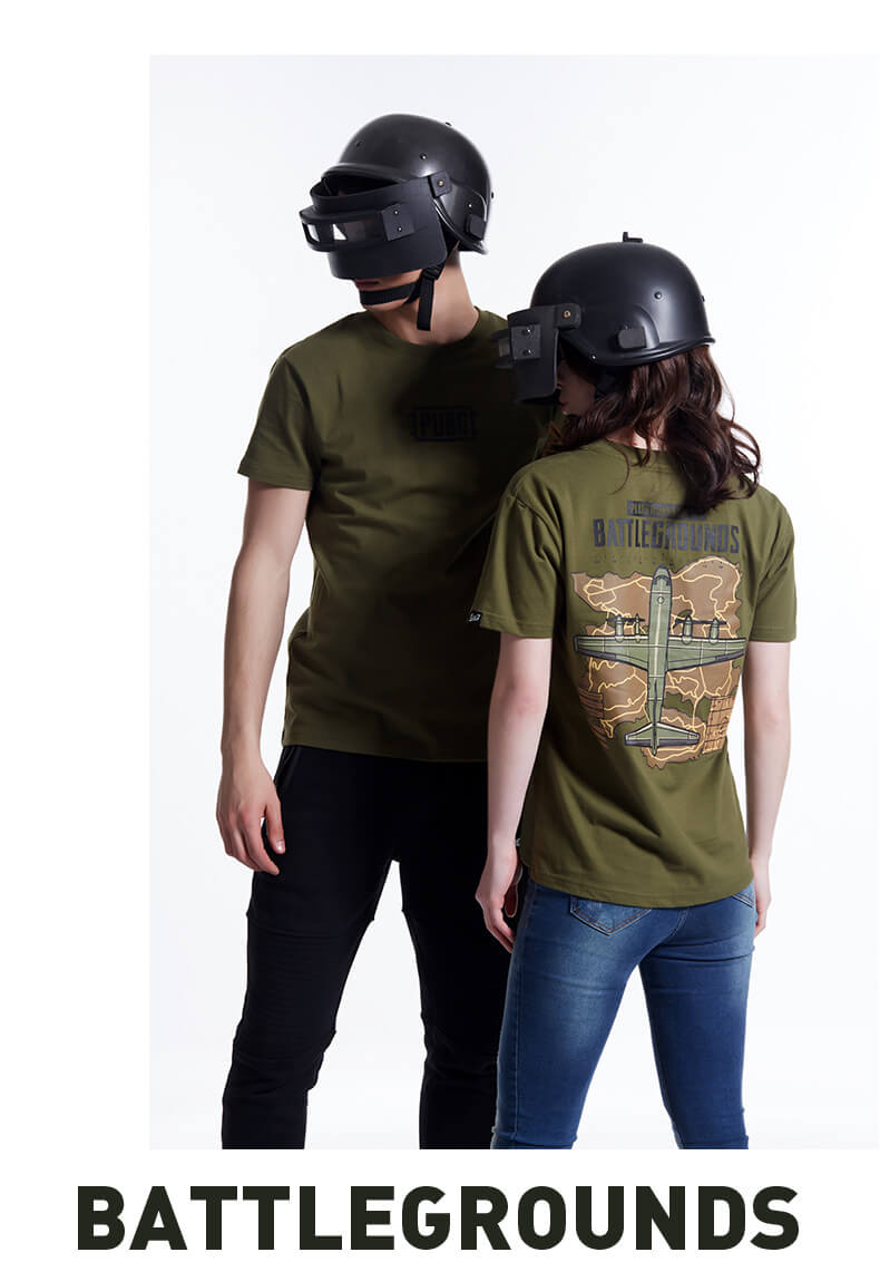 Playerunknown'S Battlegrounds Map T-shirt pubg Army Green 3XL Tee Shirt