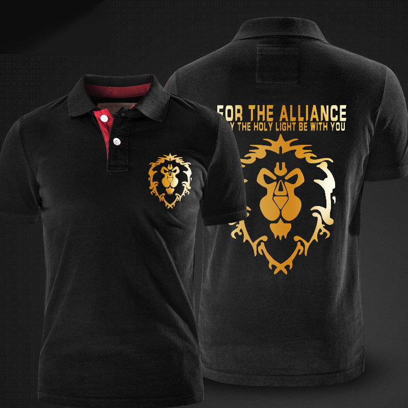 Quality Alliance Logo Polo Shirt World of Warcraft Black Polo T Shirt for Men