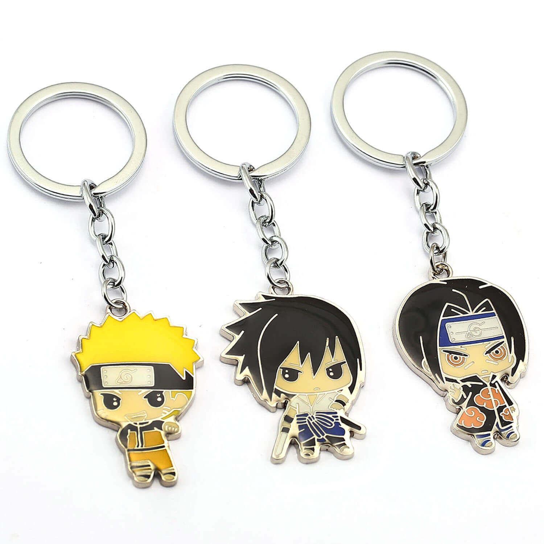 Quality Anime Naruto Keychains Uchiha Sasuke Uzumaki Naruto Key Holder