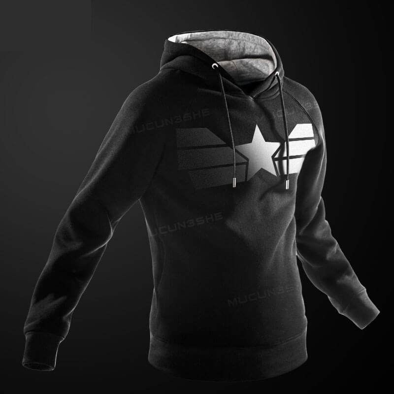 Quality Black Marvel Captain American Hoodie for Men Boys