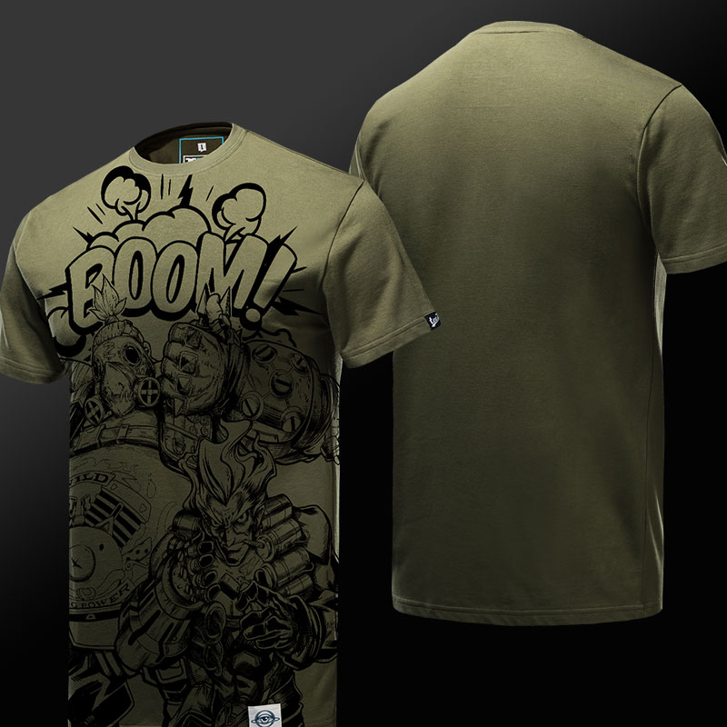 Quality Junkrat and Roadhog T-shirt Blizzard Overwatch Army Green Tee Shirt