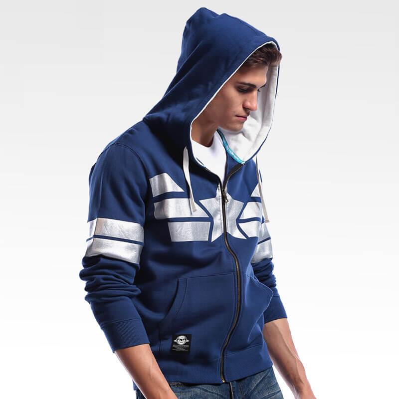 Quality Marvel Captain America Zip Up Hoodie Blue Superhero Cosplay Sweatshirt