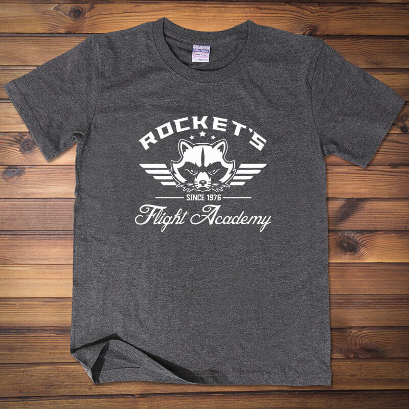 Rocket's Flight Academy Tee Dark Grey Guardians Of The Galaxy T-shirt