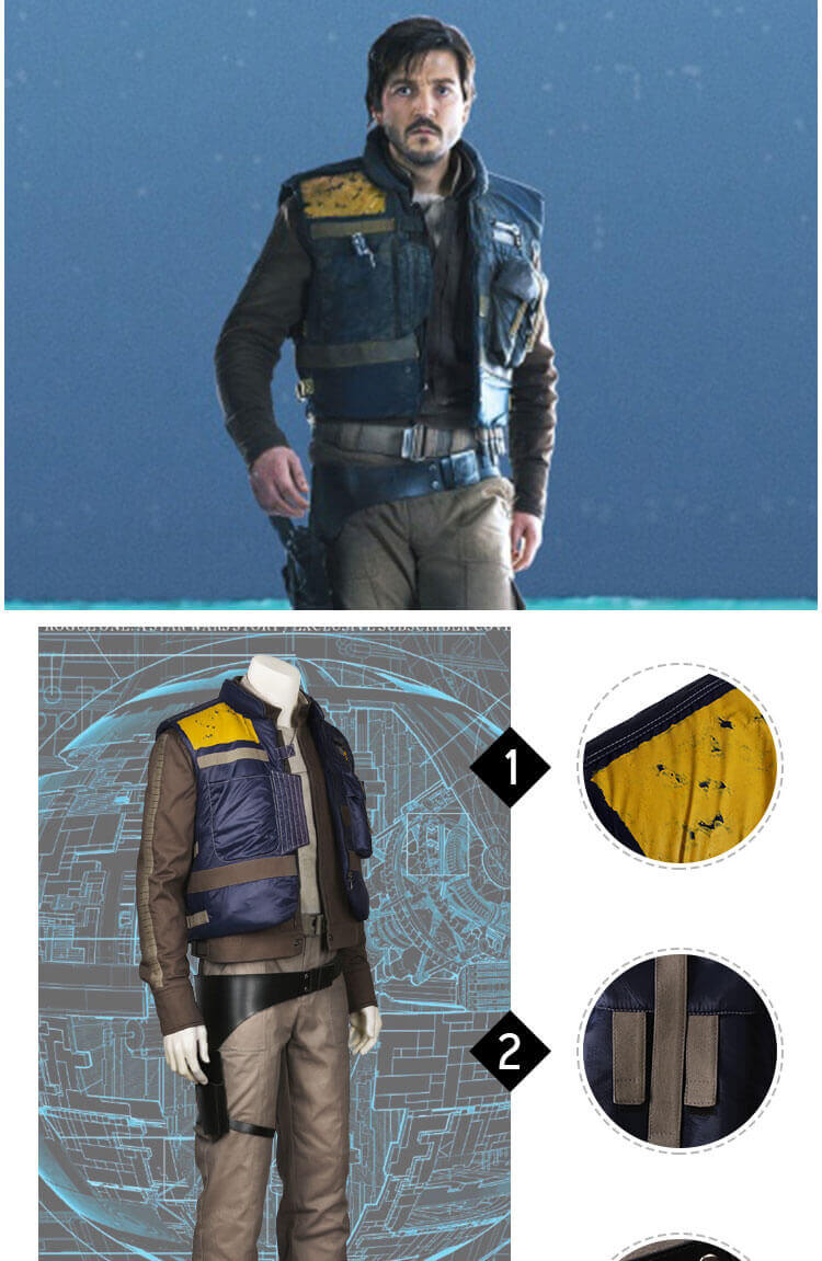 Rogue One Star Wars Story Cassian Andor Cosplay Costume
