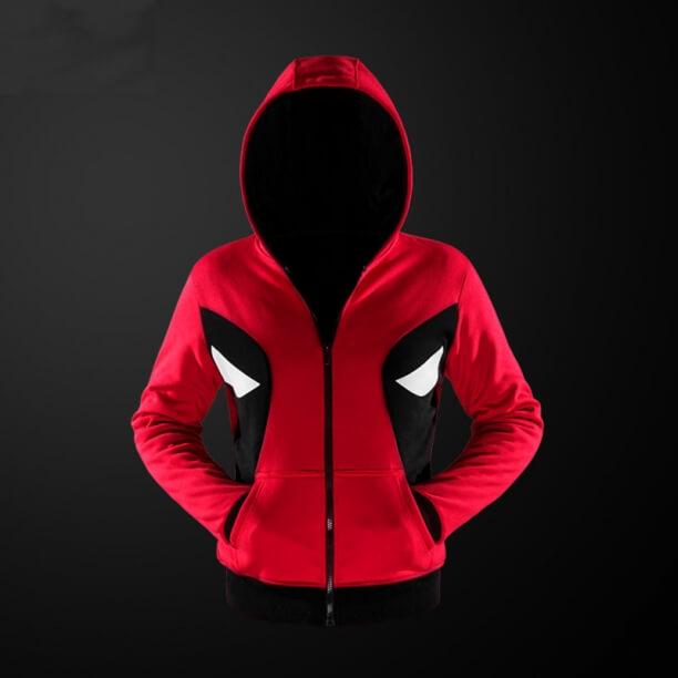Quality Deadpool Cosplay Hoodie Red Superhero Hooded Sweatshirt For Youth