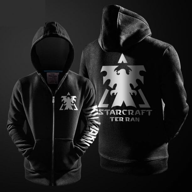 Blizzard StarCraft 2 Terran Zipper Hoodie Black Mens Hooded Sweater