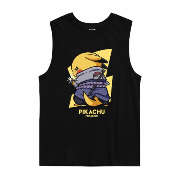 Pokemon Uchiha Sasuke Pikachu Tank Tops Tees Anime T Shirt
