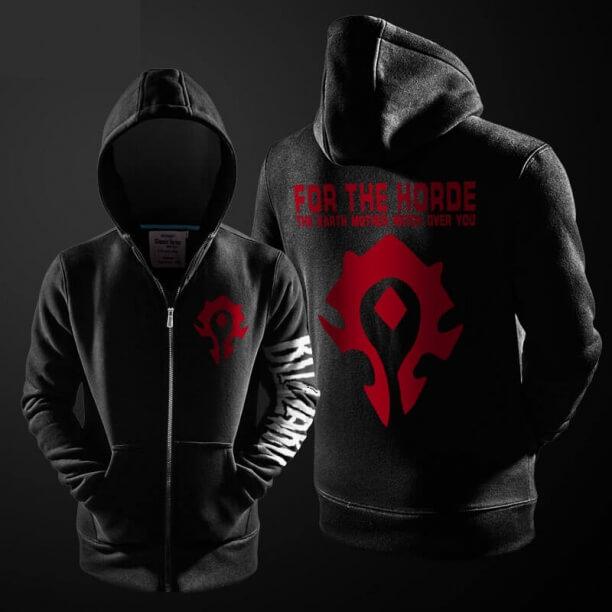 Blizzard World of Warcraft Horde Logo Hoodie Black Zip Sweatshirt