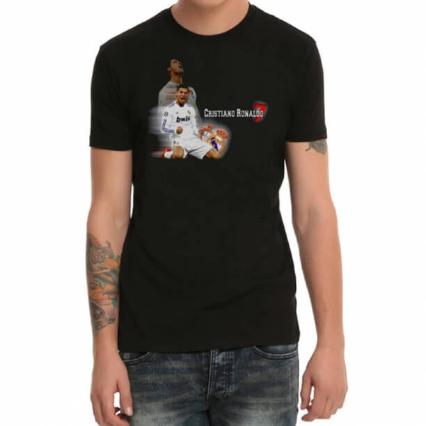 C Ronaldo Portugal Football Team Black T-Shirt
