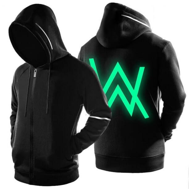 Cool Luminous DJ Alan Walker Logo Sweatshirt Black Zipper Hoodie