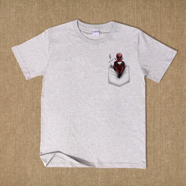 Lovely Deadpool T shirt balck short sleeve tee