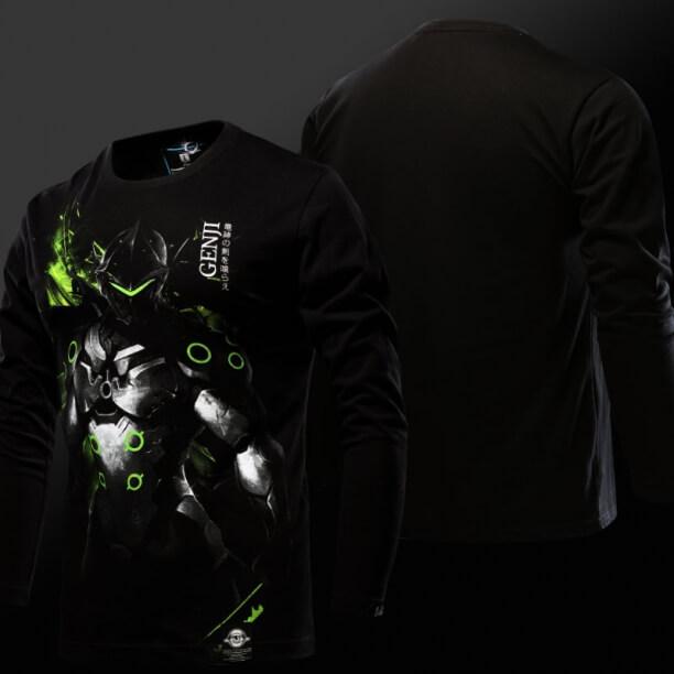 Luminous Overwatch Genji T-shirt OW Hero Long Sleeve Tee