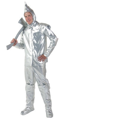 The Wizard Of OZ Cosplay Costume Silver Reflective Tin Man Mens Halloween Performance Clothing