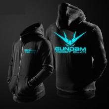 Luminous Gundam Zipper Black hoodie for youth