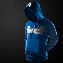 Captain America Pullover Hoodie Black Blue Superhero Fleece Hooded Sweatshirts For Male