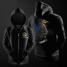 Hanzo Ink Print Hoodie Overwatch Hero Zipper Hooded Sweatshirt