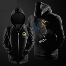 Hanzo Ink Print Hoodie Overwatch Hero Zipper Hooded Sweatshirt