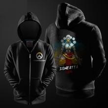 Overwatch Zenyatta Ink Print Hoodie Blizzard OW Hero Zipper Hooded Sweater