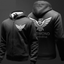 Top Quality Black Assassin's Creed Themed Hoodies Mens Winter Fleece Thick Zipper Sweatshirts XXXL