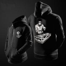 DJ Bruce Lee Hoodie For Young Black Zipper Sweat Shirt