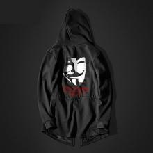 Cool V for Vendetta Long Hoodie Black Men Hooded Sweatshirt
