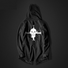 One Piece Edward Newgate Long Hoodie Black Mens Hooded Sweatshirt