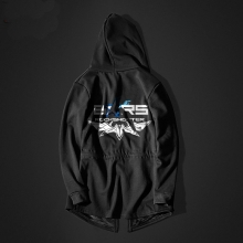 Cool Black Shooter Long Hoodie Black Hooded Sweatshirt For Youth