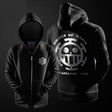 One Piece Hoodie Trafalgar Law Black Zip Up Hooded Sweatshirt For Youth