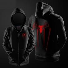 Marvel Superhero Spiderman Hoodie Black Zip Up Hooded Sweatshirt For Youth