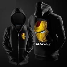 Superhero Iron Man Hoodie Black Zip Up Men Boy Marvel Hooded Sweatshirt