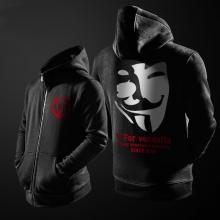Cool V for Vendetta Mask Zip Up Hoodie For Men