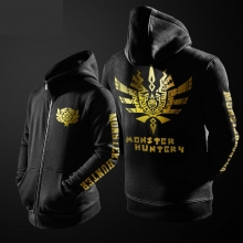Monster Hunter Hoodie Black Zipper Mens Sweatshirt for Mens