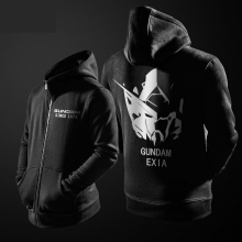 Cool Gundam Exia Hoodie Black Zipper Cotton Coats For Boy Men