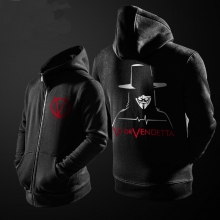 V For Vendetta Movie Hoodie Zip Up Sweatshirt Men Black