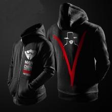 Cool V for Vendetta Black Zip Up Hoodie For Mens