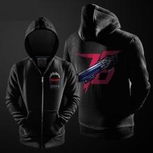 Blizzard Overwatch Soldier 76 Hoodie Zip Up Black Mens Sweatshirt