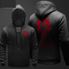 Game Horde Zipper Hooded Sweatshirts Mens Winter Hoodie Fleece Black Plus Size