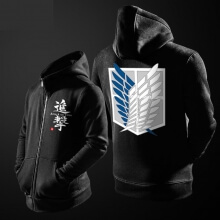 Attack on Titan Hoodie For Young Black Zipper Sweat Shirt