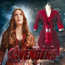 Scarlet Witch Cosplay Costume Avengers Age of Ultron Wanda Maximoff Pu Leather Coat
