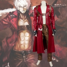 Devil May Cry Cosplay Costume DMC Dante PU Leather Windbreaker