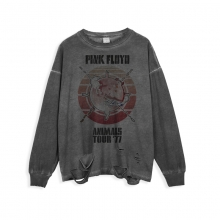 <p>Rock Pink Floyd Tee Ripped Long Sleeve T-Shirt</p>