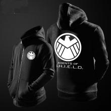 Agents of Shield Hoodie For Mens Black Zipper Sweatshirt