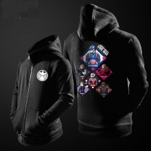 Quality Agents of Shield Hoodie For Boys Black Cotton Zipper Sweater