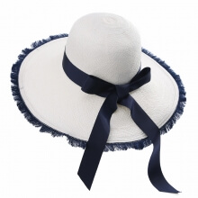 Panama Handmade Straw Hat Girls Summer Big Eave Bow Tie Sun Hat Shopping Travelling