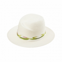Female White Summer Elegant Embroidery Panama Straw Hat Travel Beach Sun Hat  100% Cellulose