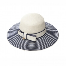 Spring Summer Travel Sun Hat Elegant Bow Tie Anti-UV Panama Straw Hat Blue 100% Panama Grass Ladies