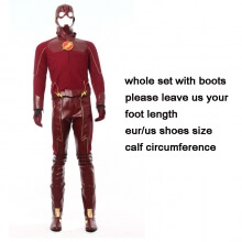 Movie Flash Cosplay Costume Superhero Flash Leather Suit
