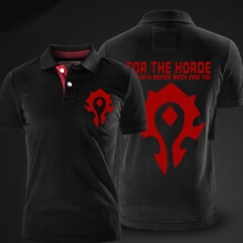 Blizzard WOW Horde Logo Polo T Shirts Black Polo Shirts For Men